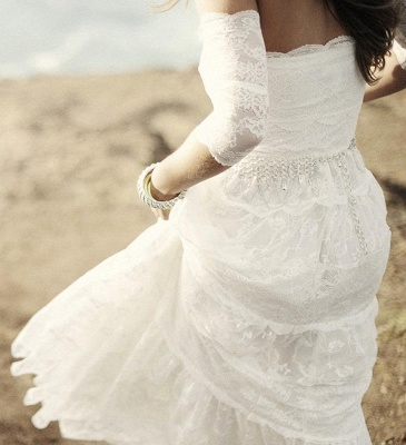 Romantic Tulle Lace Half Sleeve Wedding Dress Off-the-shoulder A-line_4
