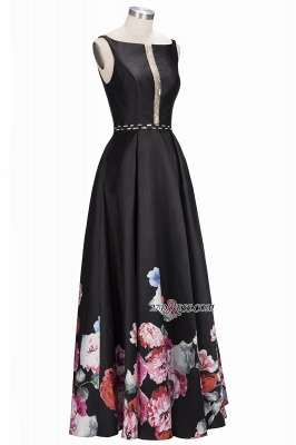 Printing A-line Floor-Length Crystal Sleeveless Black Evening Dress UK_2