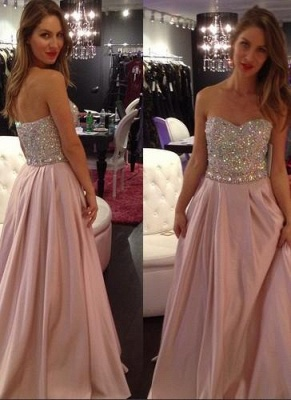A-line Sexy Sweetheart-Neck Crystals-Top Long Pink Prom Dress UKes UK_2