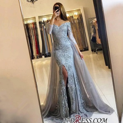 Sweetheart Lace-Appliques Front-Split Newest Long-Sleeve Mermaid Prom Dress UK SP0345_1