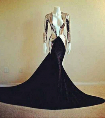 Sexy Deep V-neck Mermaid Evening Dress UKes UK Long sleeves prom gowns_1