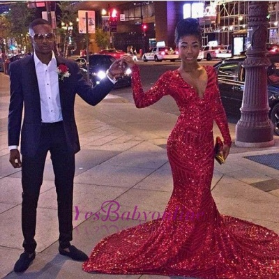 Elegant Red V-Neck Sequins Prom Dress UKes UK Long Sleeve Mermaid BK0_3
