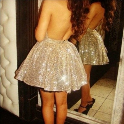 Gorgeous Halter Sleeveless Short Cocktail Dress UK Open Back With Sequins_2