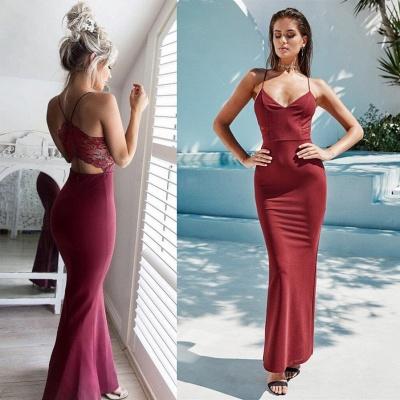 Sexy Spaghetti Straps Mermaid Sweetheart Lace Prom Dress UK_3