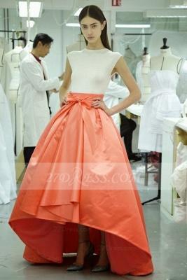 Hi-lo White Ball Gown Prom Dress UKes UK Evening Jewel Cap Sleeve Bow Sash and Orange Gowns_1