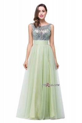 Scoop-Neckline A-line Sleevless Charming Long Crystal Chiffon Prom-Dress UK_5