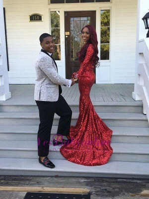 Elegant Red V-Neck Sequins Prom Dress UKes UK Long Sleeve Mermaid BK0_2