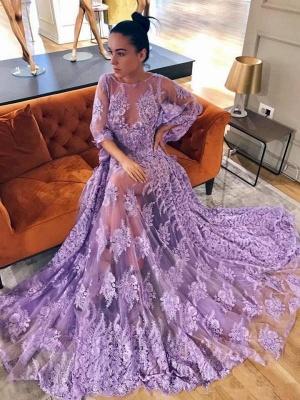 Modern Lace Lavender Half Sleeve Prom Dress UK | Backless Prom Dress UK_1