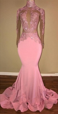 Pink Mermaid Prom Dress UK   Mermaid Long-Sleeve Evening Gowns BA7959_1