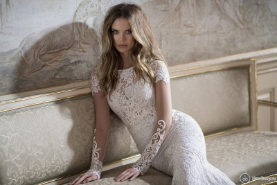 Modern Bateau Cap Sleeve Sexy Mermaid Wedding Dress Open Back With Lace Beadss_4