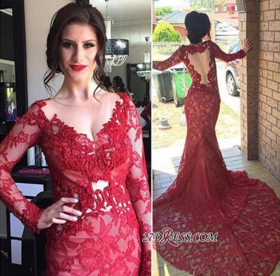 Court-Train Lace Long-Sleeve Mermaid Red Appliques Sheer-Tulle Evening Dress UK_2