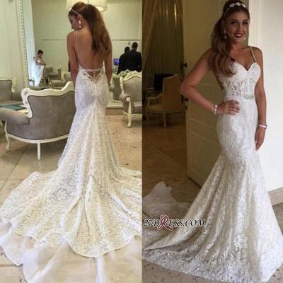 Backless Spaghetti-Straps Lace Sexy Mermaid Elegant Wedding Dresses UK BA4516_1