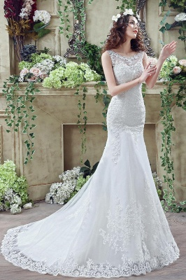 Timeless Sexy Mermaid Lace Wedding Dress Zipper Button Back Sweep Train_7