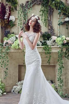 Timeless Sexy Mermaid Lace Wedding Dress Zipper Button Back Sweep Train_6