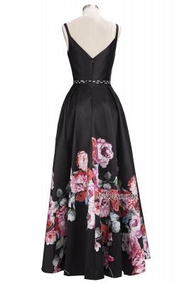 Printing A-line Floor-Length Crystal Sleeveless Black Evening Dress UK_5