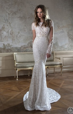 Modern Bateau Cap Sleeve Sexy Mermaid Wedding Dress Open Back With Lace Beadss_3