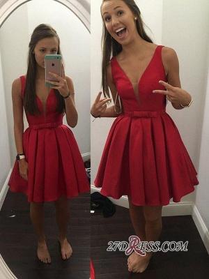Red Short Sash Bowknot V-neck Straps Sexy Sleeveless Simple Homecoming Dress UK_2