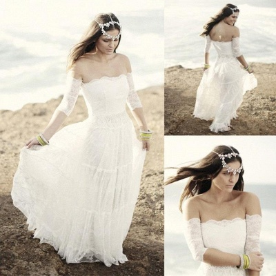Romantic Tulle Lace Half Sleeve Wedding Dress Off-the-shoulder A-line_5