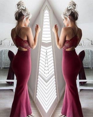 Sexy Spaghetti Straps Mermaid Sweetheart Lace Prom Dress UK_1
