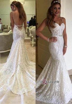 Backless Spaghetti-Straps Lace Sexy Mermaid Elegant Wedding Dresses UK BA4516_2