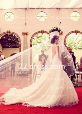 Beads Bridal High Neck Lace Wedding Dresses UK Sheer Cheap Backless Sleeveless Court Train Gowns_2