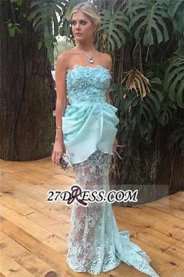 Strapless Sheath Lace Appliques Luxury Evening Floral Long-train Blue Dress UKes UK_3