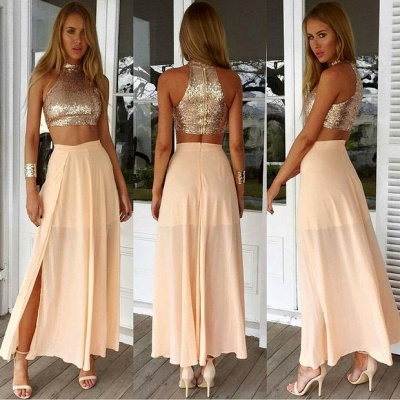 Newest Sequined Two Piece Prom Dress UK Front Split Floor-length BA3375_3