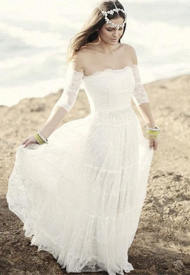 Romantic Tulle Lace Half Sleeve Wedding Dress Off-the-shoulder A-line_1