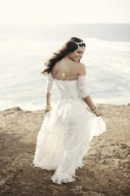 Romantic Tulle Lace Half Sleeve Wedding Dress Off-the-shoulder A-line_3