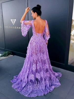 Modern Lace Lavender Half Sleeve Prom Dress UK | Backless Prom Dress UK_3