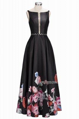 Printing A-line Floor-Length Crystal Sleeveless Black Evening Dress UK_6