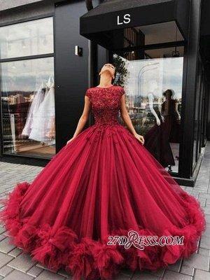 Short Sleeves Burgundy Prom Dress UKes UK   Ball Gowns Evening Dress UK With Lace_1