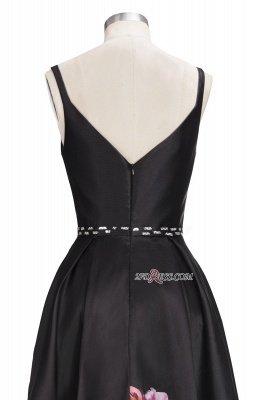 Printing A-line Floor-Length Crystal Sleeveless Black Evening Dress UK_3