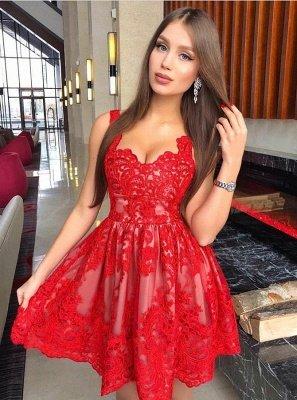 A-Line Red Lace Homecoming Dress UKes UK | Spaghetti Straps Mini Cocktail Dress UKes UK_1