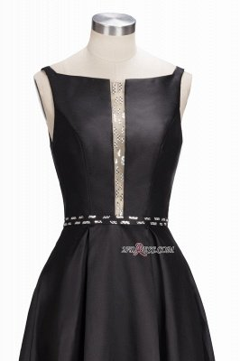 Printing A-line Floor-Length Crystal Sleeveless Black Evening Dress UK_4