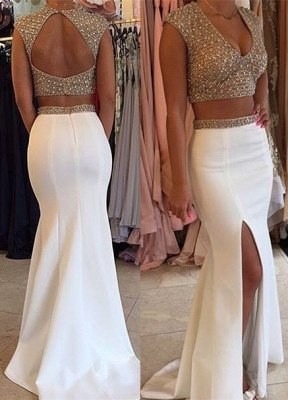 Gorgeous Two Pieces Prom Dress UKes UK Beadings Cap Sleeve Long Party Gowns BA3117_3