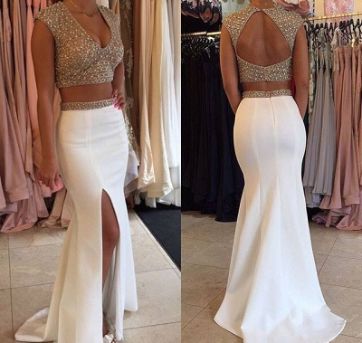 Gorgeous Two Pieces Prom Dress UKes UK Beadings Cap Sleeve Long Party Gowns BA3117_1
