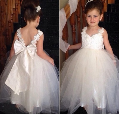 Delicate Tulle Lace Appliques Flower Girl Dress With Bowknot_3