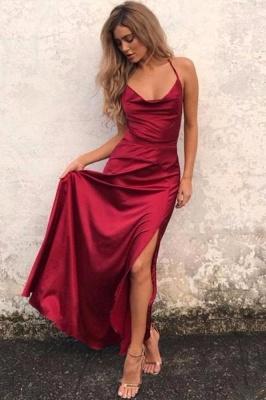 Elegant Red Sleeveless Spaghetti Strap Prom Dress UK Front Split Long Backless_1