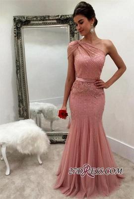 Modest One-Shoulder Mermaid Long Beads Sleeveless Prom Dress UK SP0287_3