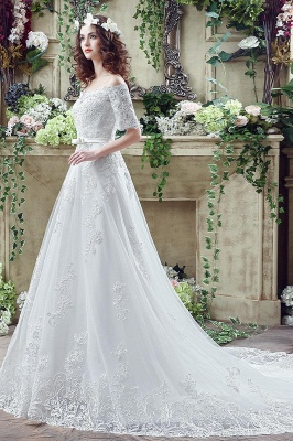 Elegant Off-the-shoulder Lace Appliques Wedding Dress Bowknot Lace-up_3