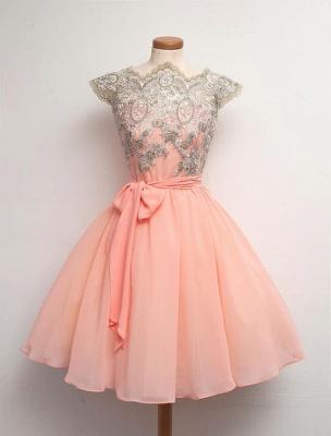 Peach Cap Sleeve Homecoming Dress UK Lace Appliques Short Chiffon Prom Dress UK_1