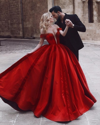 Gorgeous Off-the-Shoulder Evening Dress UK | Red Long Prom Dress UK_3