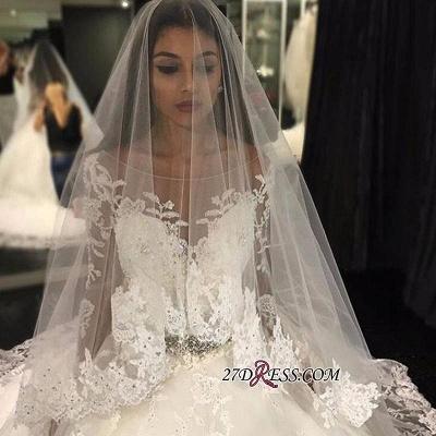 Long-Sleeves Scoop Neckline Crystal Glamorous Tulle Appliques Wedding Dress BA4480_3