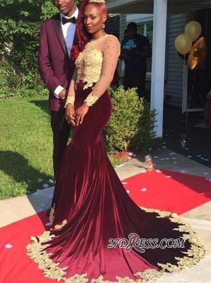 Luxury Burgundy Appliques Long-Sleeve Velvet Prom Dress UK BK0_2