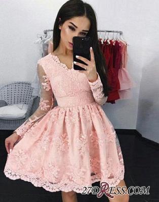 Pink A-line V-neck Short Long-sleeves Lace Cocktail Dress UK_1