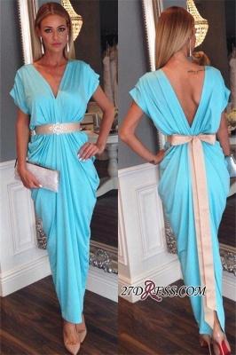 Ruffles Short-Sleeves Sash Bowknot Blue V-neck Beaded Open-Back Evening Dress UK BA3822_2