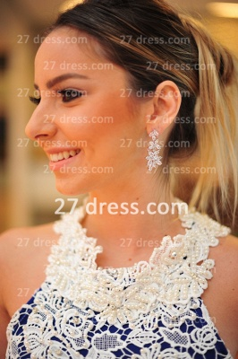 New Arrival Royal Blue Cocktail Gowns White Vestidos De Fiesta Sexy Lace Top_4