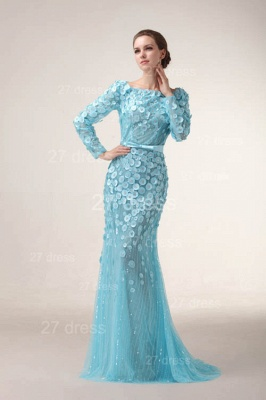 Bateau Long Sleeves Evening Dress UKes UK Mermaid Sequined prom Gowns_4