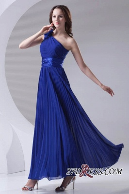 One-Shoulder Simple Chiffon Royal-Blue A-Line Bridesmaid Dress UKes UK_7